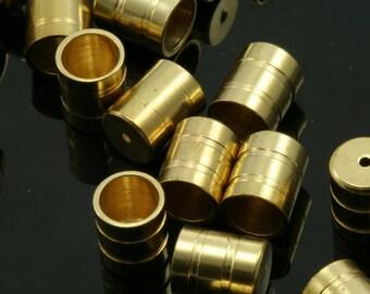 raw brass ends cap, 20 pcs 5 X 7,4 mm 4 mm inner raw brass cord  tip ends, raw brass ribbon end, findings ENC4 1485R