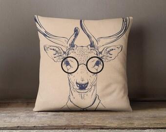 Deer Hipster Decorative Throw Pillow Case Pillow Cover Design Pillowcase Birthday Gift Idea Him Her Home Decor Animal Hipster Fashion Deer