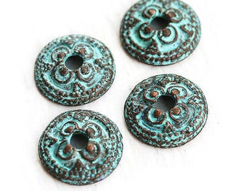 14mm Bead caps Verdigris Green patina findings Ornament Copper bead caps for jewelry making 4Pc - F226