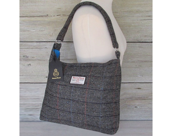 Harris Tweed Large Grey Herringbone with Checks & Flecks Slouchy Shoulder Bag