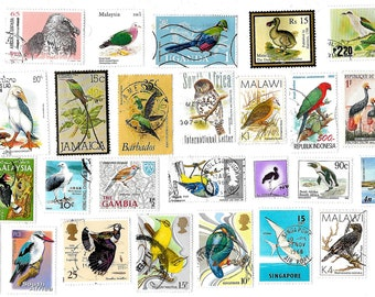30 Bird Postage Stamps off paper for paper crafts, collage, scrapbooking, journals, decoupage, card making, collecting