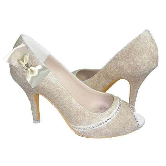 Glitter bows Bride Rhinestone Bridal Satin Toe Wedding Shoes Bling or Gold amp; the Silver with for Champagne Peep Heels txq6wZPT
