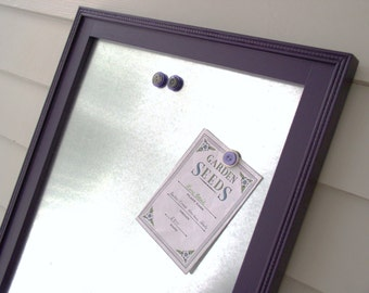 Long Office Bulletin Board - Steel Dry Erase and Magnetic Board Organizer - 47.5 x 16 Large Framed Board - Galvanized Metal and Purple Frame