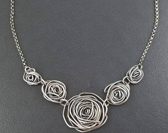 Rose Bib Necklace, Five Roses, sterling silver, oxidized rose necklace, silver roses, black gray silver, spiral necklace,rose, michele grady
