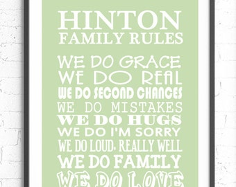 Family Rules Wall Art, Personalized Family Gift, Custom Sign, Typography Poster, Family Gift, Family Rules Sign, Subway Art, Custom Family