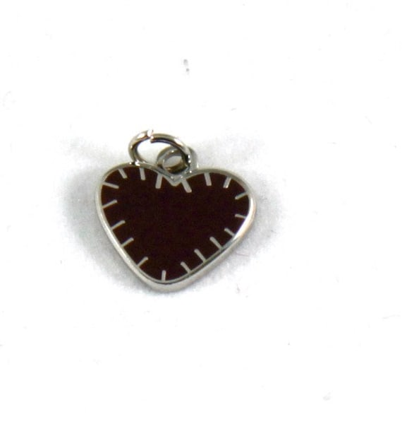 "Exclusive Deep Primitive Red Stitched Heart 1/2"" Enamel Charm"