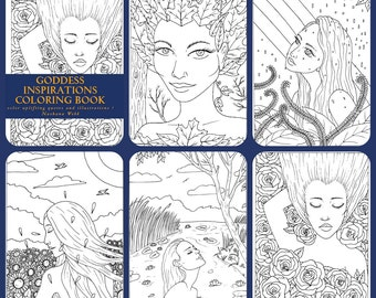 Adult coloring page ,5 page set pdf goddess coloring page...by Nashana Webb