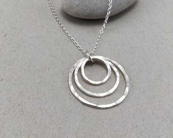 Hammered Sterling Silver Triple Circle Necklace, Hammered British Silver Pendant, Handmade Silver Three Circle Necklace Handmade Pendant