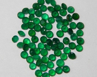 Natural Green Onyx- 6mm Faceted Cut Round Calibrated Size - Top Quality Green Color - Natural Loose Gemstone