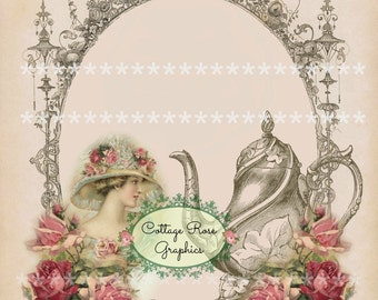 Victorian TEA English ADD your own Text Large digital download  pink roses BUY 3 get one free ecs svfteam