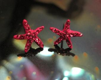 Pink Tiny Starfish Earrings - Stud Earrings - Rhinestone Starfish Earrings - Beach Earrings - Beach Wedding - Nautical Jewelry