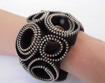 Hand-made zipper bracelet.
