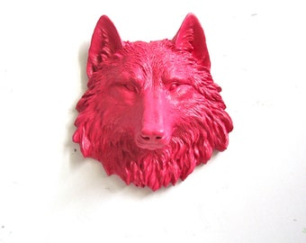 HOT PINK Faux Taxidermy Small Wolf Head Wall Hanging Mini Animal Wall Mount Home Office Kids Decor faux taxidermie nursery kids wall decor