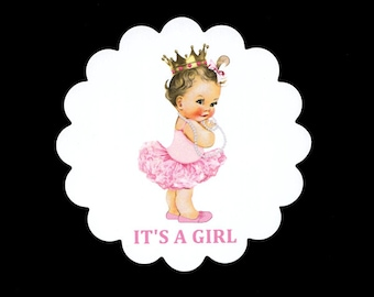 Baby Shower Coasters - Disposable Coasters - Baby Girl - Princess - Party Coasters - Pink