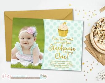Cupcake Invitation, Cupcake Birthday Invitation, Mint and Gold Invitation, Mint and Gold Birthday Invitation, Cupcake Birthday Party