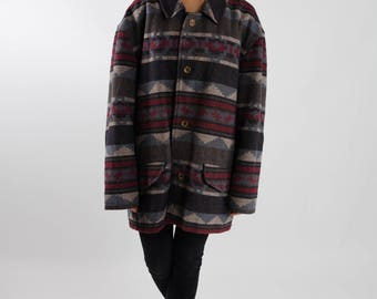 Vintage gray and red aztec coat / Navajo printed wool coat / South Western ladies coat / Vintage men printed coat / Blanket coat / Size XXL