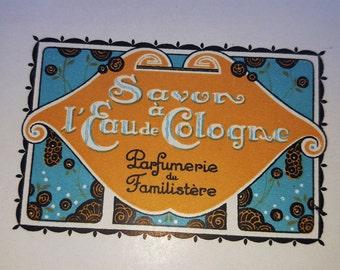 Vintage Label, Gift For Her, French Soap Label, 1920s Soap Label, Bathroom Decor, Antique French Label, Art Deco, Savon al' Eau de Cologne