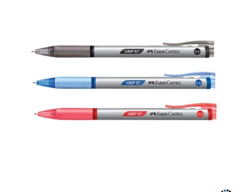 Faber Castell Grip X5 Retractable Ballpoint Pen 0.5mm | Black Blue Red Writing School | 12 Pens