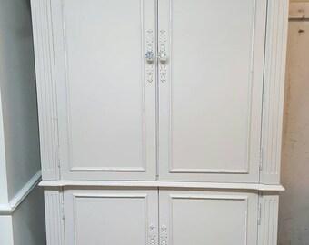 Armoire dresser distressed shabby chic greige linen closet media cabinet storage