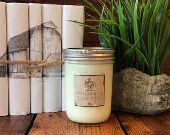 Peppermint And Eucalyptus 16oz Woodwick Candle
