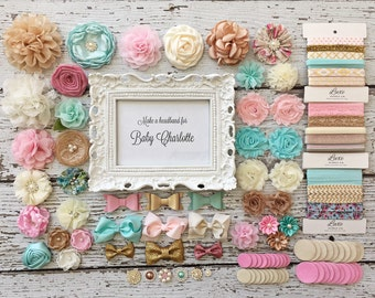 DIY Baby Headband Making Kit - Baby Shower - Aqua, Ivory, Gold, Pink, & Beige - MAKES 15 + or 30+ HEADBANDS! - HK110-15 / HK110-30