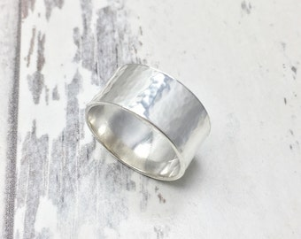 Wide Hammered Ring, Wide Hammered Silver Band, Silver Cuff Ring, Hammered Silver Band, Wide Band, Statement Ring, Hammered Silver, Wide Ring