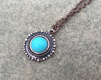 Sale Copper Mediterranean Charm Necklace, Boho Charm Necklace, Aqua Charm Necklace, Blue Charm Jewelry, Copper Jewelry, Traditional Jewelry