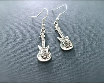 Silver Guitar Earrings. Musical. Music. Musically Inclined. Cute Small Silver Charm Earrings. Dangle Drop Earrings. Under 10 Gifts. Talent.