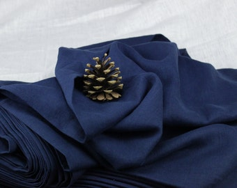 Dark blue color 100 % washed Linen fabric (200 g/m2). Densely woven, softened, washed linen dark blue color fabric