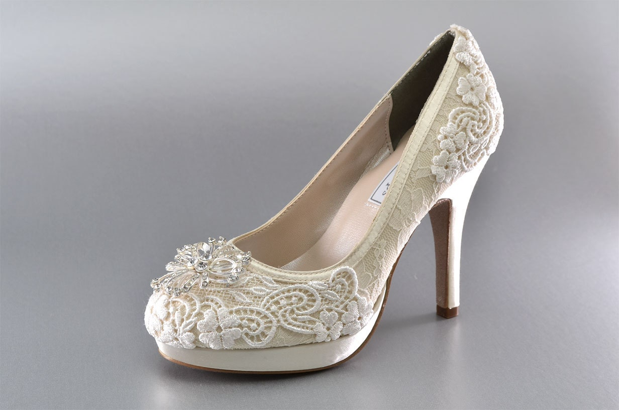 Wedding Shoes Lace Covered Bridal Shoes Womens Wedding Shoes
