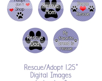 """1.25"""" Rescue/Adopt Collage Sheet Instant Download Adopt don't Shop, Dog Rescue, Shelter Dogs"""