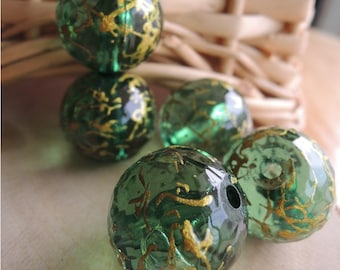 6 Pcs  Green Drawbench faceted Acrylic Beads - Gold Veining 18mm (S103)