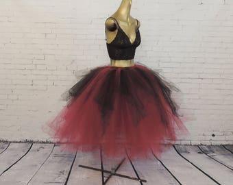 Red maroon burgundy black tea length tutu goth gothic adult womens tutu engagement photo tutu sewn tutu steampunk tutu skirt Halloween tutu