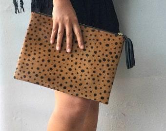 MEDIUM flat small spot leopard clutch, Genuine leather clutch, leopard print clutch, leopard leather clutch, leather clutch, leopard purse w