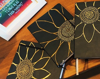 Hardcover Black Sunflower 6x8 Journal