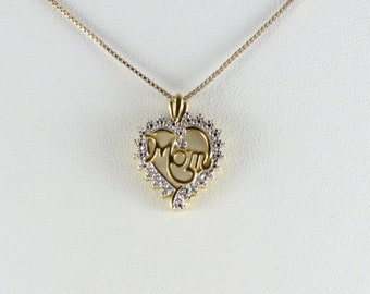 Pendant Gold over Sterling Silver Mom Heart Pendant