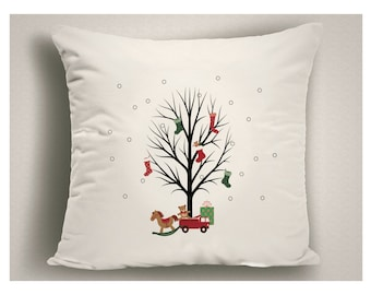 Unique Christmas Decorations, Christmas Pillows with Whimsical Design, Holiday Pillows in Red and White, Christmas Throw Pillow Covers