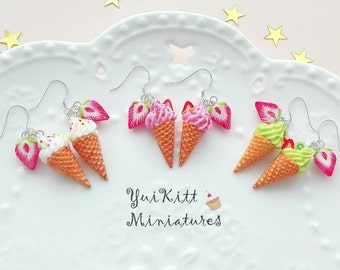 925 Sterling Silver Earring Hooks/ Ice Cream Earrings/ White Pink Green Ice Cream Cone/ Ice Cream Jewelry/ Food Jewelry/Strawberry Ice Cream