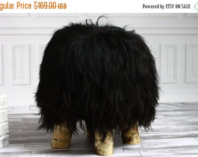ON SALE Luxury Beautiful Real SHAGGY Black Icelandic Sheepskin Stool, Chair, Pouf, Scandinavian Design