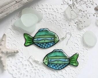 Blue fish earrings Nautical jewelry for women gift Goldfish earrings Good luck gifts Summer birthday gift Sea jewelry Tropical earrings gift