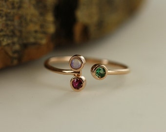 Birthstone Ring Personalized Opal Ruby And Emerald Ring Adjustable Thin Stacking Ring In 14K Rose Gold Three Stone Ring