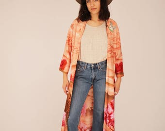 Vintage 70s Kimono - Print, Boho, Robe, LA, Music Festival, Polyester, Festival Kimono