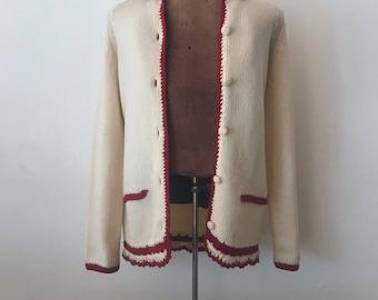 Vintage 1940s/1950s Handmade Knit Cardigan