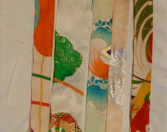 Assorted Antique / Vintage Japanese Kimono Fabric 100g - long strip06
