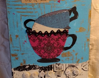 Collage teacup painting art, original, vintage materials, mixed media