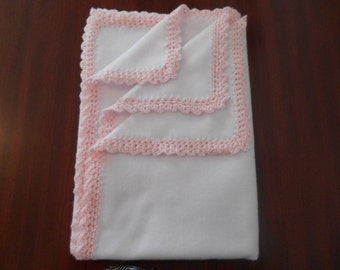 """White Fleece Blanket with light pink crochet trim. Very soft and measures 42"""" x 32 """""""