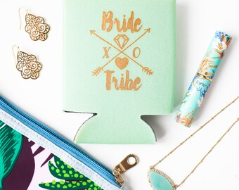 Mint Bride Tribe Drink Coolers | Boho Bachelorette Party Favors, Mint + Gold Arrow Bride Tribe Drink Cooler Favors, Beer Bottle Can Coolers