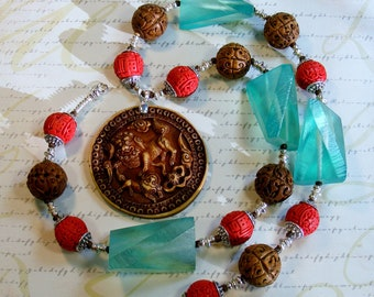 CLEARANCE-Asian Beauty-chunky necklace, carved wood, cinnabar, and resin, with resin pendant, 27 1/2 inches or 70 cm