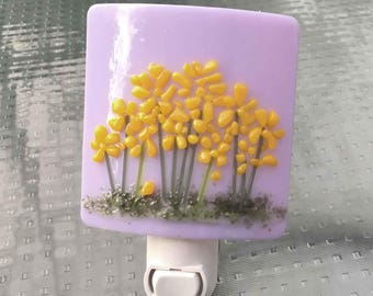 Night Light, Wall Plug In, Light Purple with Yellow Flowers