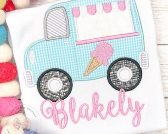 Summer Ice Cream Truck Monogrammed Applique Shirt or Bodysuit - Personalized, Embroidered, Monogram, Summer, for girls